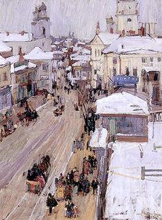 Leon Gaspard (1882-1964). Russian Street Scene 1914. Oil on Canvas.