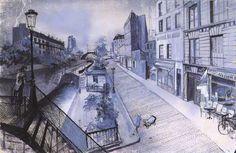 """Quais du canal St Martin"" designed by Alexandre Trauner for 'Hôtel du nord', 1938. Directed by Marcel Carné."
