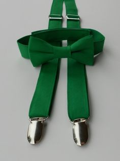 Kelly Green Bowtie and Suspender Set by kellybowbelly on Etsy, $35.00