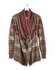 Vintage-inspired blanket patterns meet soft cotton in this updated open-front cardigan.