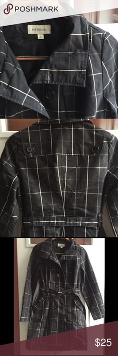 Women's Trench Coat Black lightweight trench coat with white and grey pinstripe plaid pattern. Buttons all the way up the neck for chilly days. Worn a handful of times but shows minimal wear. I wish it still fit me! It's one of my favorite jackets. Perfect for business, casual or a dinner date. Shell: 60% Cotton 40% Polyester, Lining: 100% Polyester. Machine washable on cold with like colors, lay flat to dry. I recommend dry cleaning. Merona Jackets & Coats Trench Coats