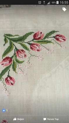 This Pin was discovered by Ber Just Cross Stitch, Cross Stitch Flowers, Cross Stitch Charts, Cross Stitch Designs, Cross Stitch Patterns, Crewel Embroidery, Beaded Embroidery, Cross Stitch Embroidery, Embroidery Patterns