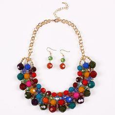 Qiyun multiple accounts Torsade Thick Round bib choker necklace earrings Establish: Amazon.es: Jewelry