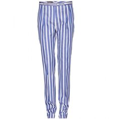 Loro Piana Fred Caribbean Twill Skinny Trousers ($1,097) ❤ liked on Polyvore featuring pants, blue, bottoms, loro piana, stripe, twill pants, blue stripe pants, twill trousers and striped pants