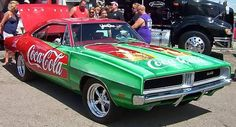 In 1968 Dodge rolled out a new body style for the popular Dodge Charger muscle car, aggressive and with that classic coke Dodge Muscle Cars, Coca Cola, Custom Trucks, Custom Cars, Car Prints, 1969 Dodge Charger, Dodge Magnum, Lamborghini Gallardo, Car Humor