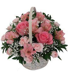 PINK BASKET Wooden Basket of Pink Roses and Pretty Pink Carnations. Basket Arrangement of 20+ Flowers Free Message Card