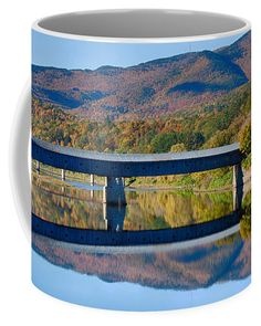 Cornish Windsor covered Bridge Coffee Mug by Jeff Folger. Mugs For Sale, Covered Bridges, New Hampshire, Connecticut, Vermont, Windsor, New England, Stretches, Coffee Mugs