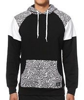 A unique black and white striped hood accents the black body with colorblock white, black, and striped print sleeves. Stylish Hoodies, Unique Hoodies, Boys Summer Outfits, African Shirts, Camisa Polo, Mens Activewear, Look Cool, Types Of Fashion Styles, Mens Fashion
