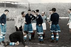 Rangers 2 Moscow Dynamo 2 in Nov 1945 at Ibrox. The referee intervenes as things get a bit on top #Friendly