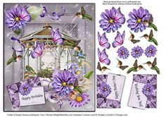 Spring Humming Birds Butterflies Scene Card Topper on Craftsuprint designed by Barbara Hiebert - This is a spring scene card topper with flowers humming birds and butterflies for decoupage,The envelope sentiment tags say,Happy BirthdayHappy Mother's DayWishing You Well - Now available for download!