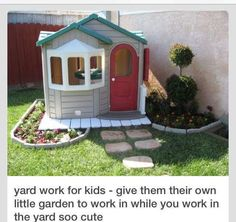 work for kids - give them their own little garden to work in while you work in the yard.Yard work for kids - give them their own little garden to work in while you work in the yard. Outdoor Fun, Outdoor Spaces, Outdoor Living, Outdoor Ideas, Gazebos, Backyard Playground, Playground Ideas, Backyard Patio, Backyard Landscaping