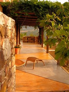 Spanish style features of this stained patio exude Old World style. Outdoor Rooms, Outdoor Gardens, Outdoor Living, Outdoor Decor, Outdoor Ideas, Painting Concrete, Concrete Staining, Stained Concrete, Diy Patio