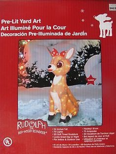 "CLARICE 24"" Pre-Lit Yard Art rudolph outdoor lawn decor christmas NEW"
