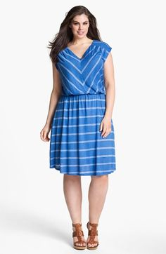 Olivia Moon Striped Jersey Dress (Plus Size) available at #Nordstrom