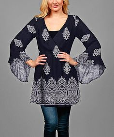 Look what I found on #zulily! Blue & White Baroque Flare-Sleeve Tunic - Plus #zulilyfinds