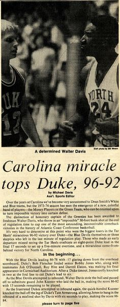 """On March in one of the most famous comebacks in NCAA basketball history, the men's basketball team rallied from an deficit with only 17 seconds left to force the game into overtime against Duke University. The Tar Heels then went on to win Acc Basketball, Basketball Court Layout, Basketball History, Basketball Legends, College Basketball, Carolina Pride, Carolina Blue, Dean Smith, University Of North Carolina"