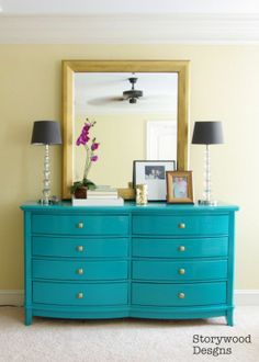 Personalizing a matchy-matchy big box bedroom set.  Painting the dresser a bright pop of color to transform a room and give it a high end look on a budget!
