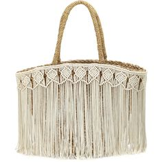 7bdcc3c079 Flora Bella Fes Macrame Fringe Beach Tote Bag ( 263) ❤ liked on Polyvore  featuring · Woven Beach BagsStraw ...