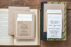 The ultimate detail for a wedding at a library venue or the union of book lovers - comes in place cards as well.