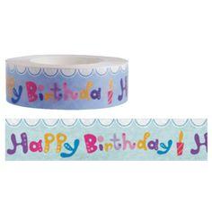 15mm x 15m washi masking tape  Funtape  Happy Birthday