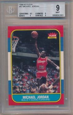 9d4661487e594b MICHAEL JORDAN 1986 87 FLEER  57 RC ROOKIE CARD CHICAGO BULLS BGS 9 MINT