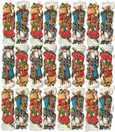 uralter Oblaten Bogen 24 kleine Weihnachtsmänner in rot & blau - DIE CUT SCRAPS