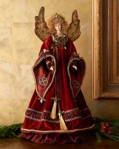 KATHERINES COLLECTION Vieux Monde Angel Treetopper traditional holiday decorations beaded wings Angel Christmas Tree Topper, Christmas Tree Tops, Angel Ornaments, Christmas Colors, Christmas Angels, Christmas Crafts, Christmas Fairy, Feather Tree, Christmas Sewing