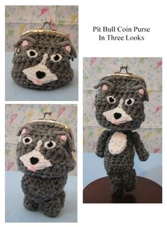 Crochet Pattern Pit Bull Coin Purse Three by DonnasCrochetDesigns