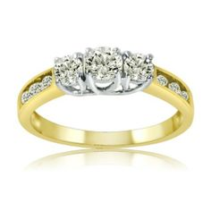 3 Diamond Promise Ring in 10K Pink Gold G-H,I2-I3 1//10 cttw, Size-9.5