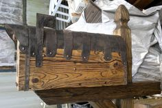 Rustic mailbox on it's rustic post mount Rustic Mailboxes, Cool Mailboxes, Wooden Mailbox, Different Types, House Ideas, Posts, Google Search, Home, Messages