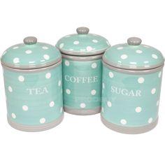 Ceramic Turquoise (Aqua) Polka Dot Tea Coffee Sugar Storage Canisters Jars Set