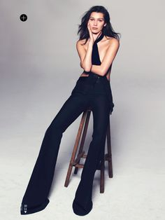 A sultry Bella Hadid is styled in black magic sensuality by Samira Naar in 'Body Talk'. David Bellemere captures Bella in the studio for Elle US May Hair by Brian Buenaventura; makeup by Kaoru Okubo Bella Gigi Hadid, Bella Hadid Style, High Fashion Poses, Mode Glamour, Mode Editorials, Model Test, Shooting Photo, Img Models, Elle Magazine