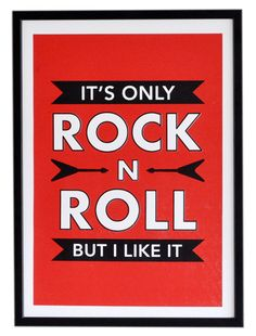 Only ROCK N ROLL Screen Print Poster - Rolling Stones - Retro Music Lyrics Print