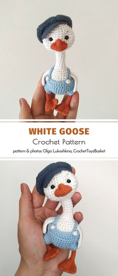 Do you prefer amigurumi geese or ducks? Don't bother choosing, you are going to want them all. Start your own menagerie of Amigurmi Birds today! Crochet Pattern Free, Crochet Patterns Amigurumi, Crochet Toys, Knit Crochet, Easy Knitting Projects, Easy Knitting Patterns, Crochet Projects, Knitting Beginners, Crochet Ideas