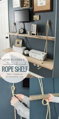 Make a DIY floating rope shelf from reclaimed wood with this easy tutorial. Use two or more hanging rope shelves for added storage and decor in any room. #remodelaholic