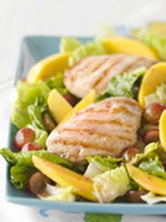 Sunshine Chicken Salad — This fruit-topped grilled chicken salad is a ray of sunshine on a day when you could be eating bland, ordinary greens.