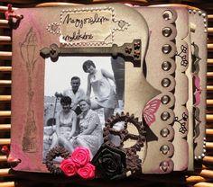 Henriett Kromek - Memories mini album With bracketform edgy cascading chipboard album, and the Keys, keyholes, hinges chipboard sheet!