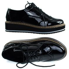 Mick1 Black Patent by Bonnibel, Platform Creepers Brogues Oxford... ($34) ❤ liked on Polyvore featuring shoes, oxfords, black shoes, creeper shoes, black wingtip oxfords, oxford shoes and black platform oxfords