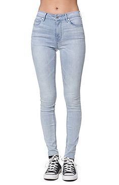 """The women's High Rise Celeste Blue Skinniest Jeans by Bullhead Denim Co for PacSun and PacSun.com features a light wash and perfect fit thanks to the ultra stretch denim. We love the high rise skinniest fit paired with our cropped tops and sweaters this season! High rise 10"""" rise 30"""" inseam Measured from a size 3 Model is wearing a 3 Her Measurements: Height: 5'9"""" Bust: 34"""" Waist: 24"""" Hips: 34"""" 74% cotton, 15% rayon, 9% polyester, 2% ..."""