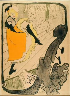 Jane Avril au Jardin de Paris (1893). Henri de Toulouse-Lautrec (French, 1864-1901). Colour lithograph poster. V&A. This poster demonstrates the visual juxtaposition of the beautiful and the grotesque that was so beloved of Toulouse-Lautrec: the sensuous figure of Avril contrasts sharply with that of the caricatured features of the musician playing the double-bass, his hairy knuckles are rendered all the more conspicuous by their proximity to her frothy gown.