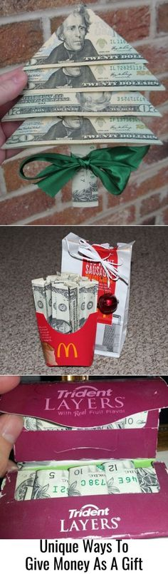 Creative money gifts - folding money DIY - fun (and funny) DIY cash gifts - cute.Creative money gifts - folding money DIY - fun (and funny) DIY cash gifts - cute ideas for giving money as a gift for Christmas, birthday etc Source b. Diy Holiday Gifts, Funny Christmas Gifts, Christmas Mom, Diy Gifts, Christmas Crafts, Cash Gifts, Christmas Birthday, Christmas Wrapping, Christmas Messages