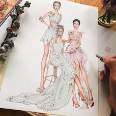How to Draw a Fashionable Dress - Drawing On Demand Dress Design Sketches, Fashion Design Sketchbook, Fashion Design Portfolio, Fashion Design Drawings, Fashion Sketches, Dress Designs, Fashion Figure Drawing, Fashion Drawing Dresses, Fashion Illustration Dresses