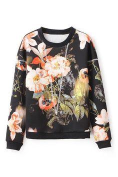 ROMWE   Unique Floral Print Sweatshirt, The Latest Street Fashion