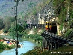 "Kanchanaburi - Death Railway.  We actually got to ride this train.  This railway is famous in the movie ""Bridge over the River Kwai""."