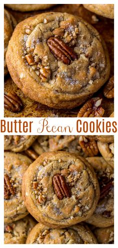 Brown Butter Pecan Cookies are thick, chewy, and crunchy! Pecan Desserts, Pecan Recipes, Cookie Desserts, Just Desserts, Sweet Recipes, Baking Recipes, Delicious Desserts, Dessert Recipes, Desserts With Pecans