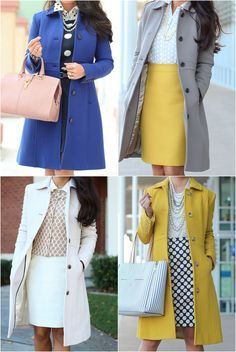StylishPetite.com   J.Crew Lady Day Coat in Warm Chartreuse and Ann Taylor Stripe Signature Tote