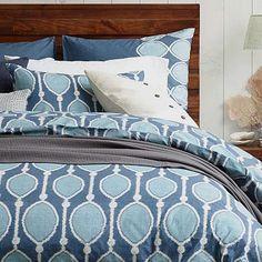 Organic Bead Print Ikat Duvet Cover + Shams