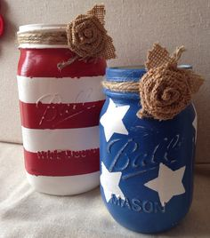 Patriotic red white and blue painted mason jars rustic patriotic decor Fourth of July decor summer decor Patriotic Crafts, July Crafts, Holiday Crafts, Diy And Crafts, Arts And Crafts, Fourth Of July Decor, 4th Of July Decorations, 4th Of July Party, July 4th