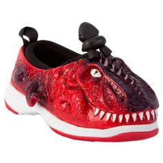Weboo Toddler Bruiser the Dinosaur Shoe: Molded from patented Ultra-durable EXOTUFF into highly detailed characters, each with a unique hand-painted finish. Designed to catch the eye as well as nurture the foot. On sale: $19 #Shoes #Kids #Weboo #Dinosaur