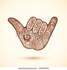 Vector shaka surfer's hand in Indian henna tattoo style More